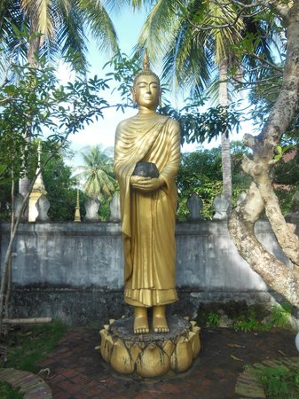 Wat Choumkhong:                   Buddha statue in the garden