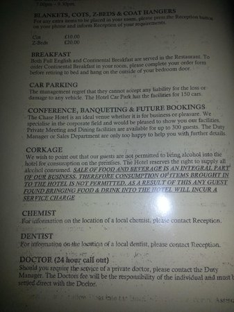 The Chase Hotel:                                     Rules on eating own food