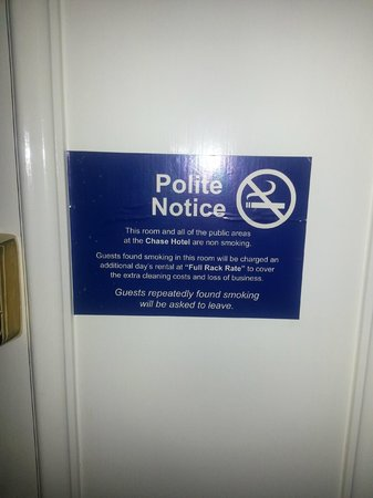 The Chase Hotel:                                     Rules on smoking