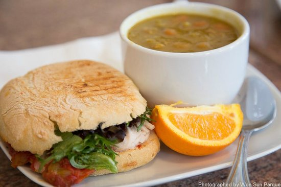 John's Cafe:                   Soup and Sandwich - Lentil Soup and Turkey Panini