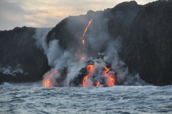 Lava Ocean Tours Inc:                   Lava entering the sea