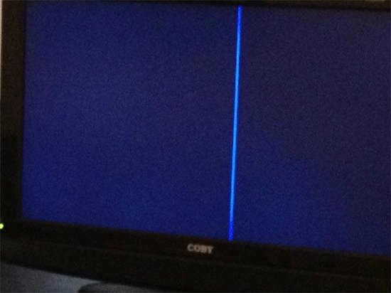 Hotel Riu Palace Punta Cana:                   tv with blue line...it worked, blue line was just always there