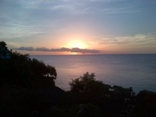 Sandals Regency La Toc:                   Sunset from our 3rd story Romeo & Juliet Oceanview Suite