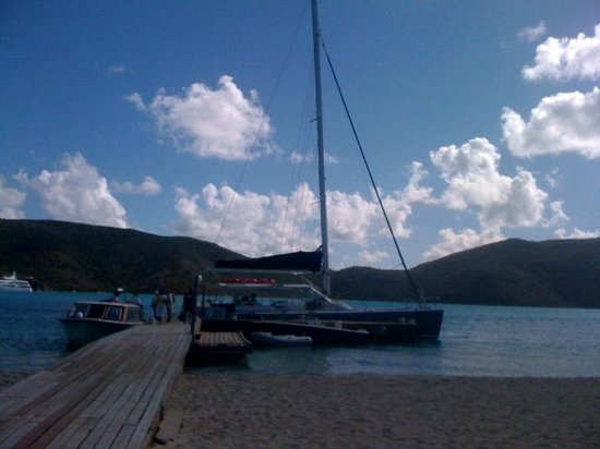 Rising Son II Catamaran: Docked at the exclusive Prickly Pear Island