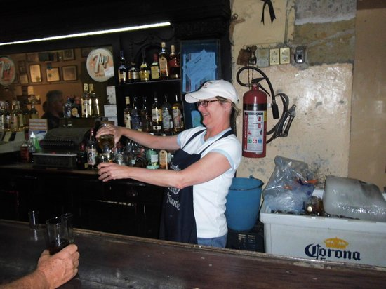 Hotel Frances:                   La Fuerentes cantina. Cathy serving.