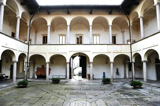 Laveno-Mombello, Italy:                                                       Perabò Palace: the inner courtyard