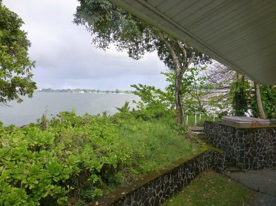 The Bay House :                   Hot Tub And View From Lanai