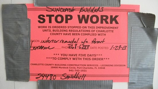 Hampton Inn Port Charlotte / Punta Gorda:                   STOP  WORK NOTICE