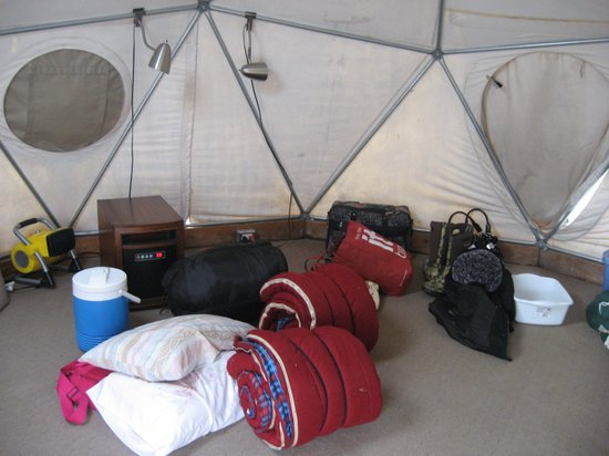 Miracle Hot Springs:                                     inside the camping dome