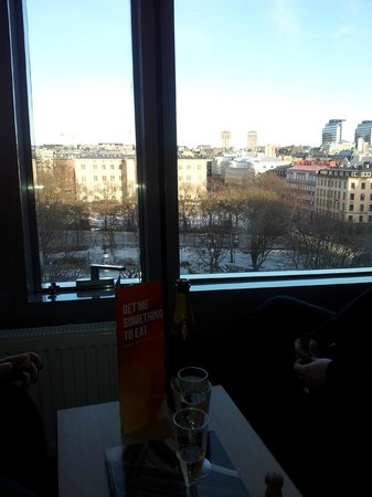 Clarion Hotel Sign: View over Norra Bantorget from the room