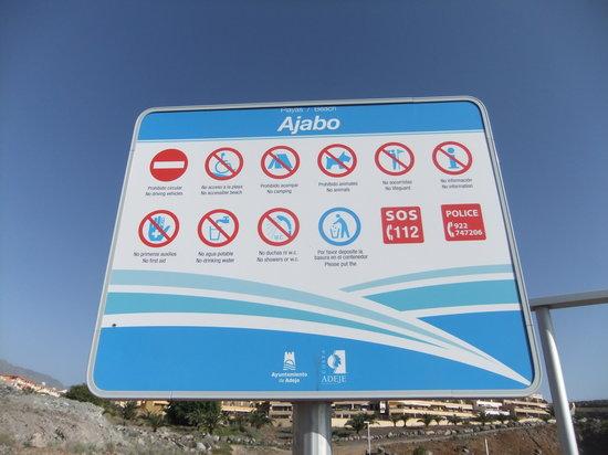 Callao Salvaje, Hiszpania:                   Schild Playa de Ajabo (by B.W)