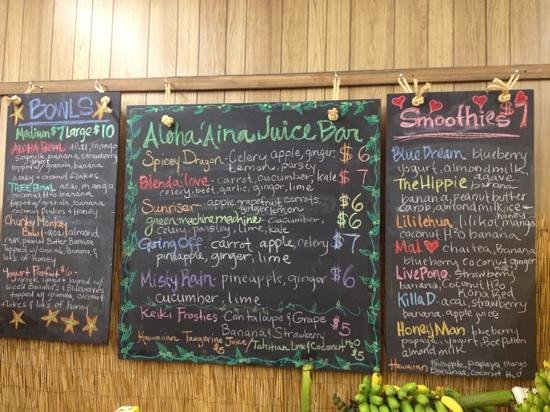 Anake's Juice Bar :                                     menu