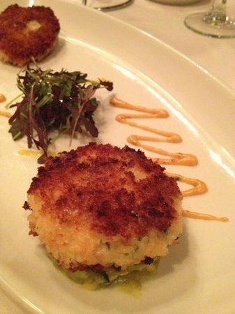 Stories Fine Dining :                   crab/prawn cakes