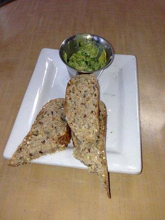 Pyramid Bistro :                   warm grainy bread with artichoke spread