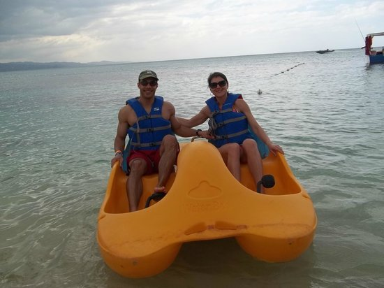 Royal Decameron Montego Beach:                                     Us in a paddle boat.