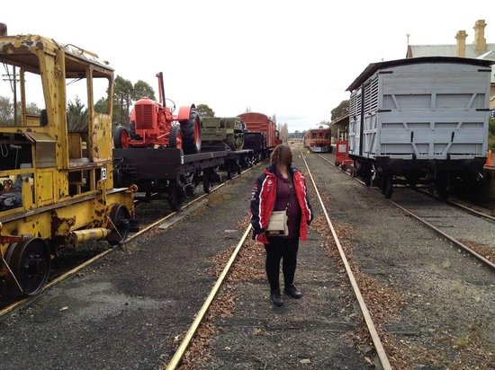 Tenterfield Railway Museum: Walking around outside between the old wagons