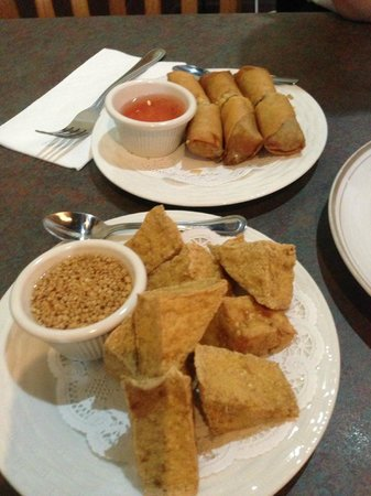 Tup Tim Thai Cuisine: Top: Vegetable egg rolls. Bottom: Crispy Tofu