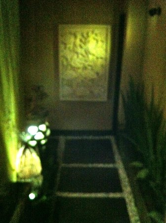 Ubud Green:                   Entrance to the villa at night