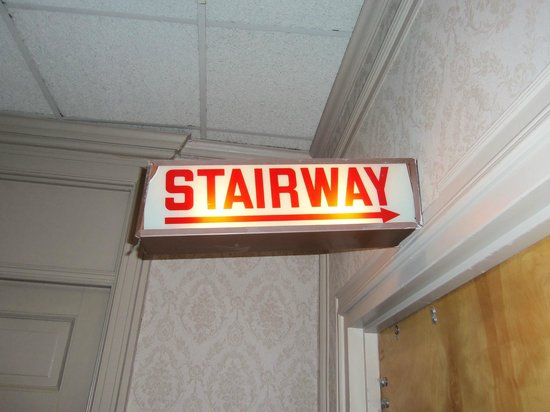 The Congress Plaza Hotel and Convention Center:                   The creepy stairway sign