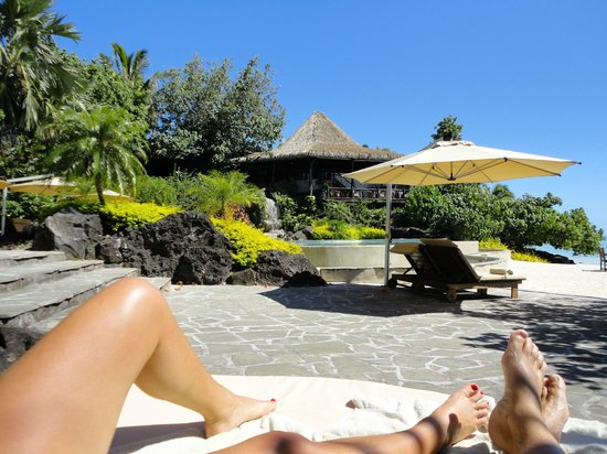 Pacific Resort Aitutaki:                                     Lounging by the pool
