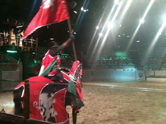 Medieval Times Buena Park:                   Our knight.. GO RED