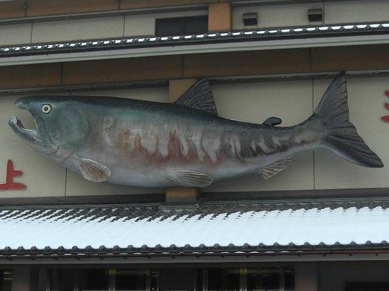 Iyoboya Kaikan:                   鮭が目印