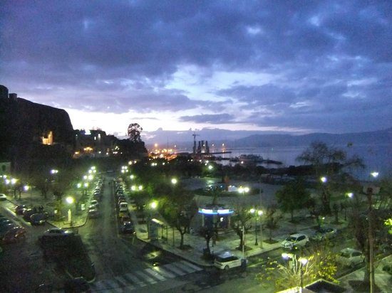 Konstantinoupolis Hotel:                   View from balcony over port as evening falls