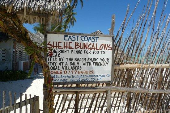 Uhuru Beach :                   The hotel's sign