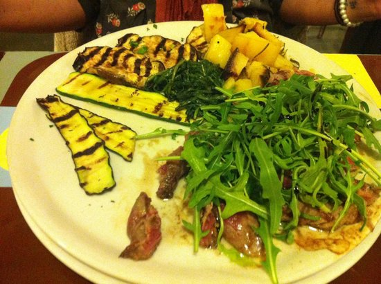 Retro :                   steak with vegetables