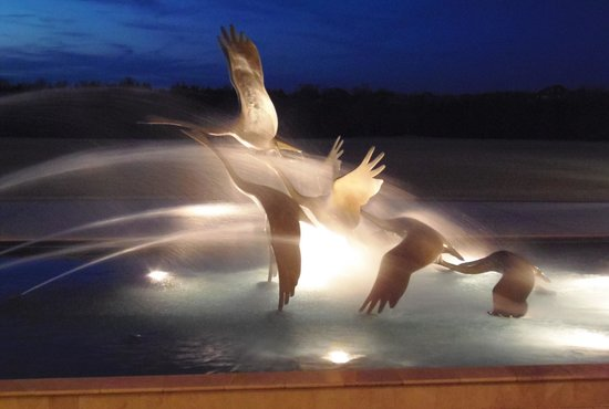 """Swan's in Flight""  in front of Armstrong Auditorium"