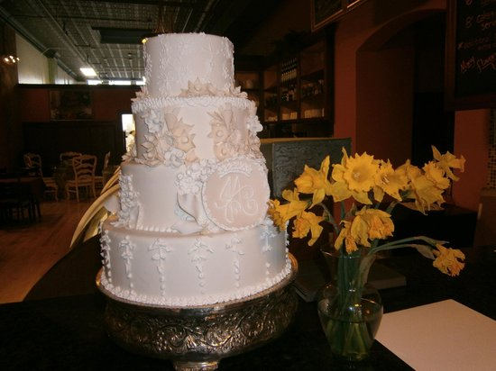 Sample Wedding Cake on display Picture of Karen Donatelli Bakery