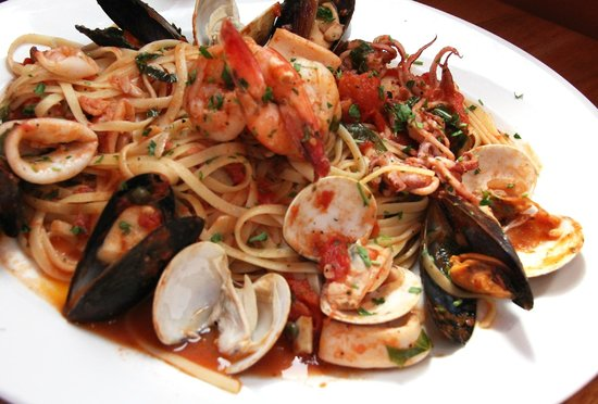 Sal's Italian Restaurant and Pizzeria: Seafood Combo, with shrimp, mussels, clams and calamari with pasta..