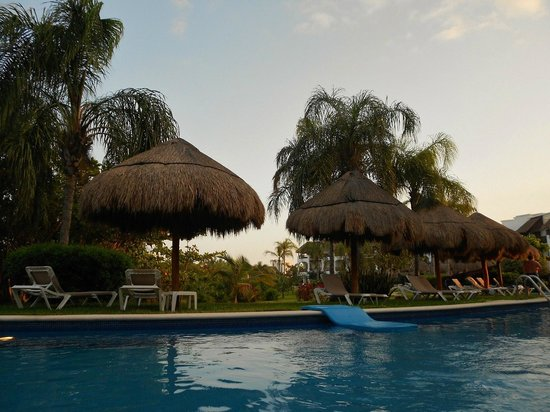 "Valentin Imperial Maya:                   Close to dusk along ""Lazy River"" pool by #7"