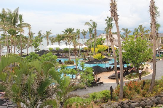 Sofitel Fiji Resort & Spa:                                     View out over Swimming Pool to Salt Restaurant