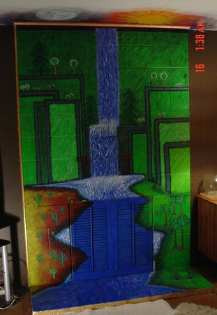 Heusso Gallery:                   Fireplace Mural!! Waterfall, Moon, Sun. Gold trim, as for the opening of firep