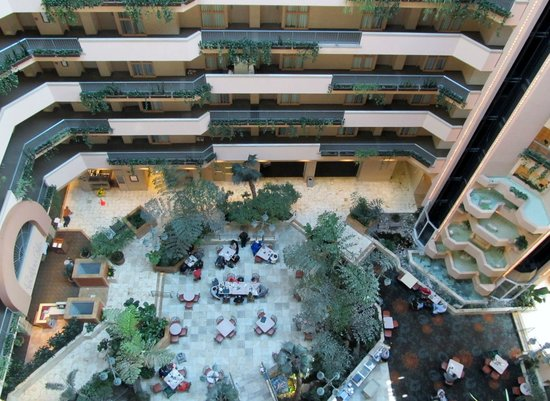 Embassy Suites by Hilton Hotel Monterey Bay - Seaside:                                     View of the lobby from the 10th floor