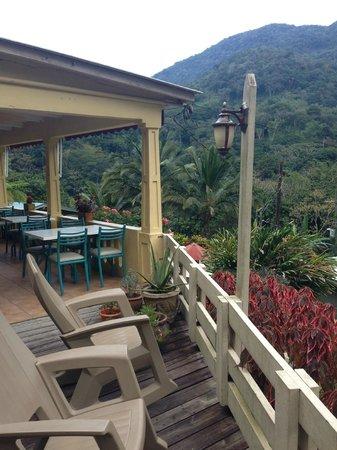 Casa Grande Mountain Retreat: Hacienda Main Building Verandah Rocking Chairs and View!!