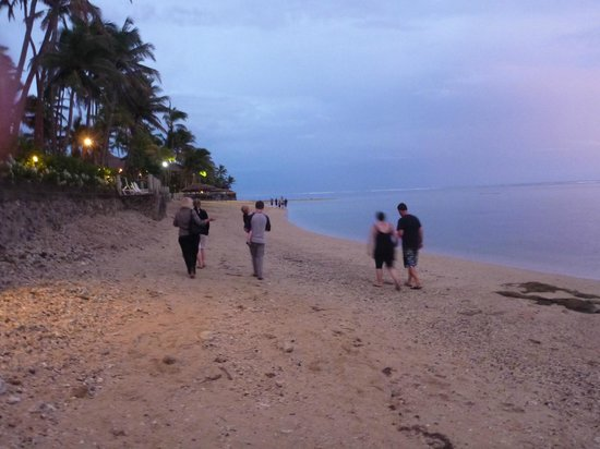 Outrigger Fiji Beach Resort:                                     Walking in front of Outrigger