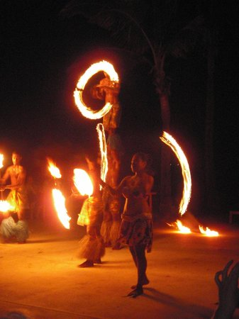 Hilton Fiji Beach Resort & Spa:                   Fire dancing entertainment on the resort grounds