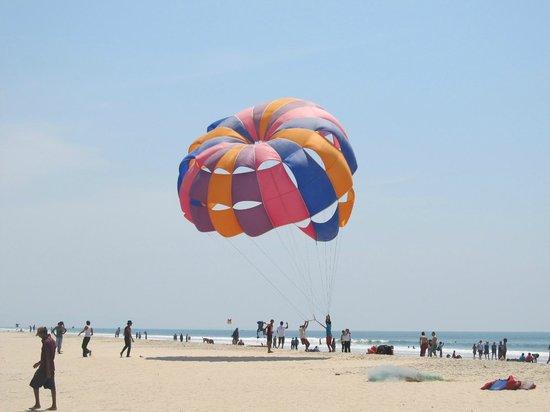 Colva Beach:                   parachute used for para sailing
