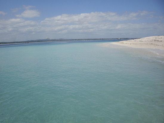 Mbudya island:                   clear warm water