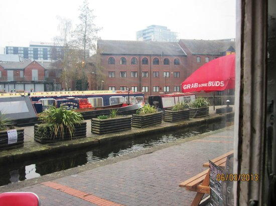 Canalside Cafe:                                     View of outside the cafe taken from my seat inside the cafe