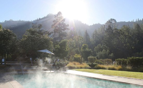 Calistoga Ranch, An Auberge Resort:                                     Early Morning Sun over the pool