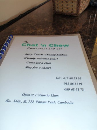 The Boston restaurant:                   Menu Cover - Come for a chat, stay for a Chew!!