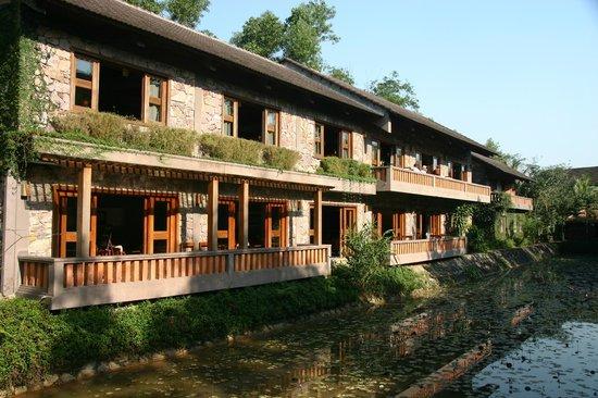 Pilgrimage Village:                   Bar downstairs, breakfast upstairs
