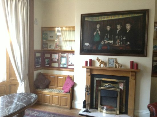 Epstein House:                   Guest lounge ...clean and full of Beatles memorabilia