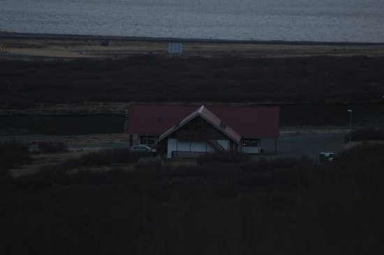 Hotel Hafnarfjall:                   View of Hotel Bru from the road early in the morning.                 