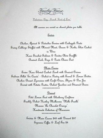 "Hawley House: ""Food for Love"" menu"