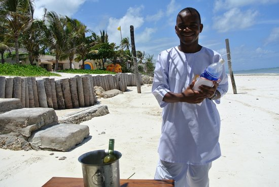 Baraza Resort & Spa:                                     Wine on the beach