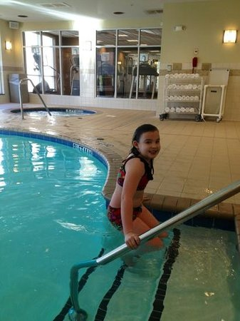 Hilton Garden Inn Columbia - Harbison: pool was kinda cold but she braved it anyway!